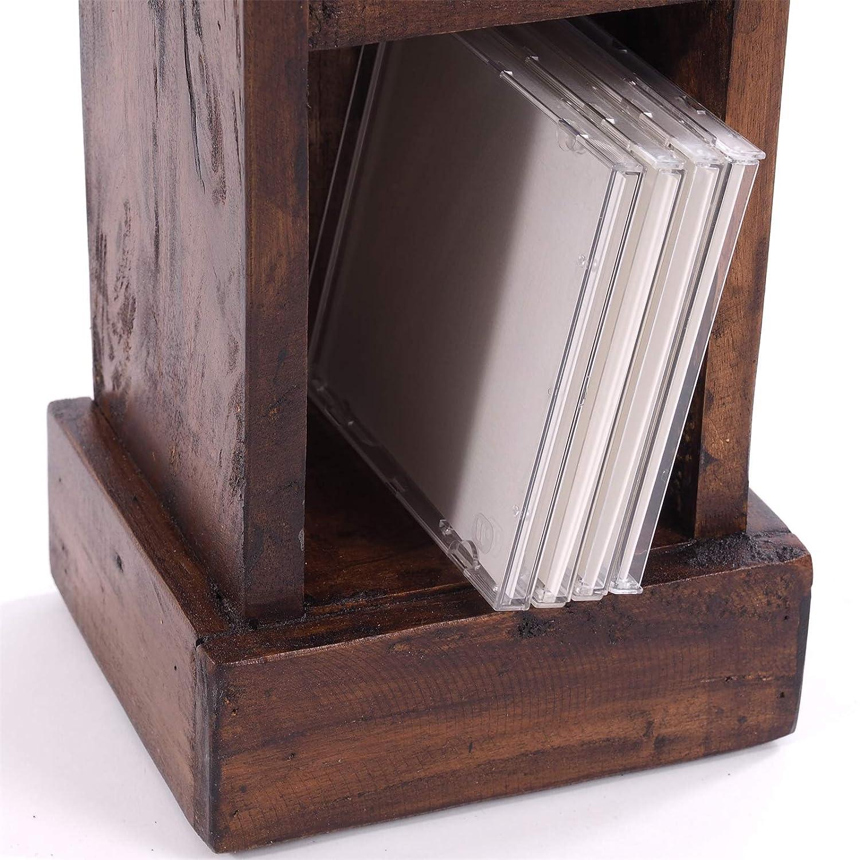76 x 15,5 x 16 cm in Legno di Mogano Massiccio con 4 Scomparti DESIGN DELIGHTS A x L x P Scaffale Porta CD