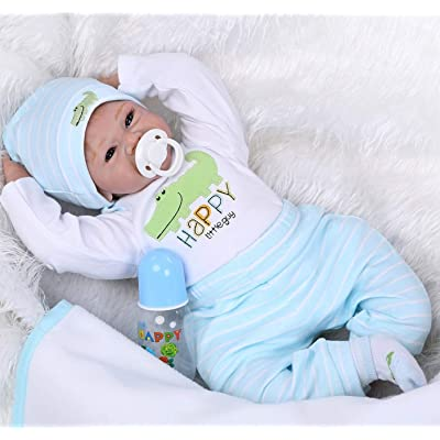 Reborn Dolls Baby Boy 22 Inch Realistic Newborn Baby Doll Vinyl Silicone Eyes Open Weighted Handmade Children Gifts Set: Toys & Games