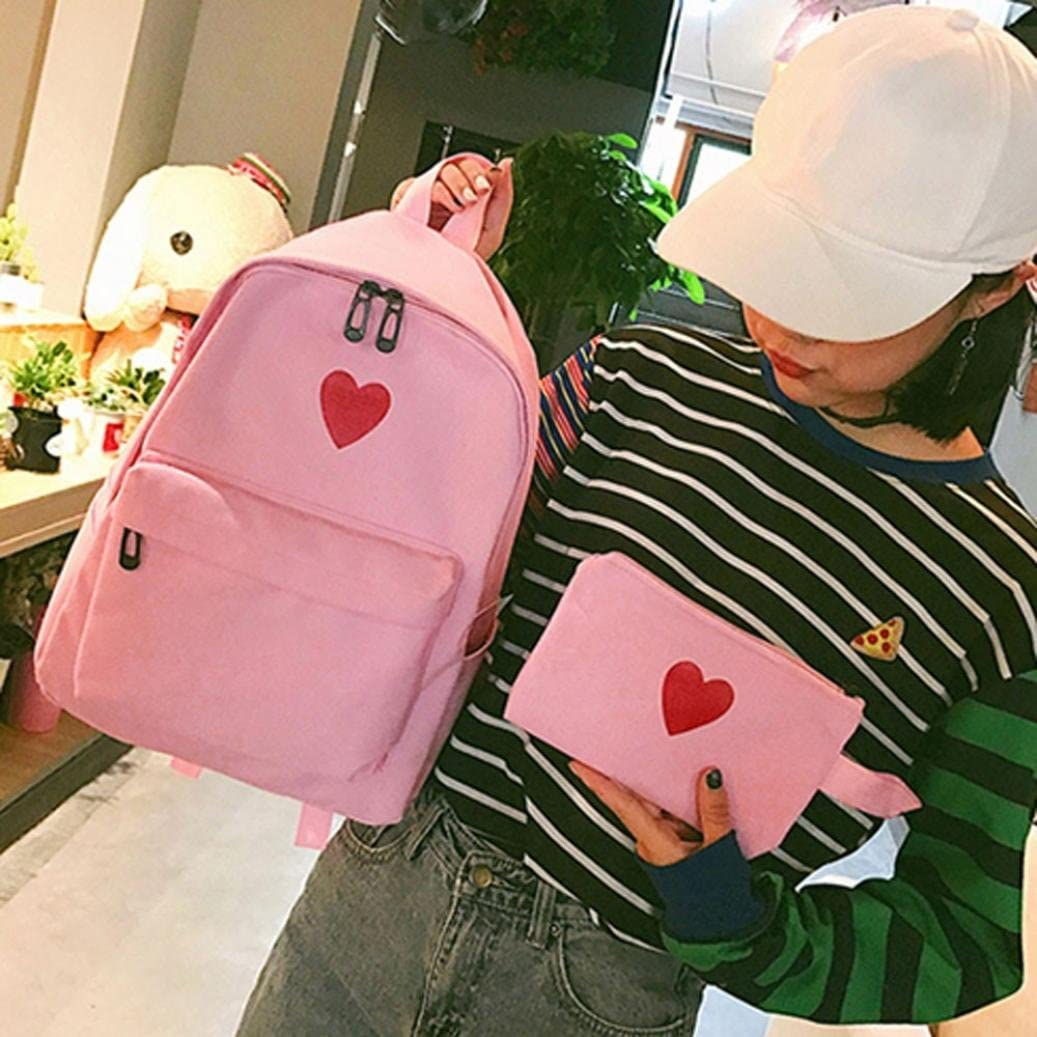 Women Girl Canvas Backpack Daypacks,Realdo Bag Campus Daughter Package Large Capacity Travel Bag+Purse Wallet