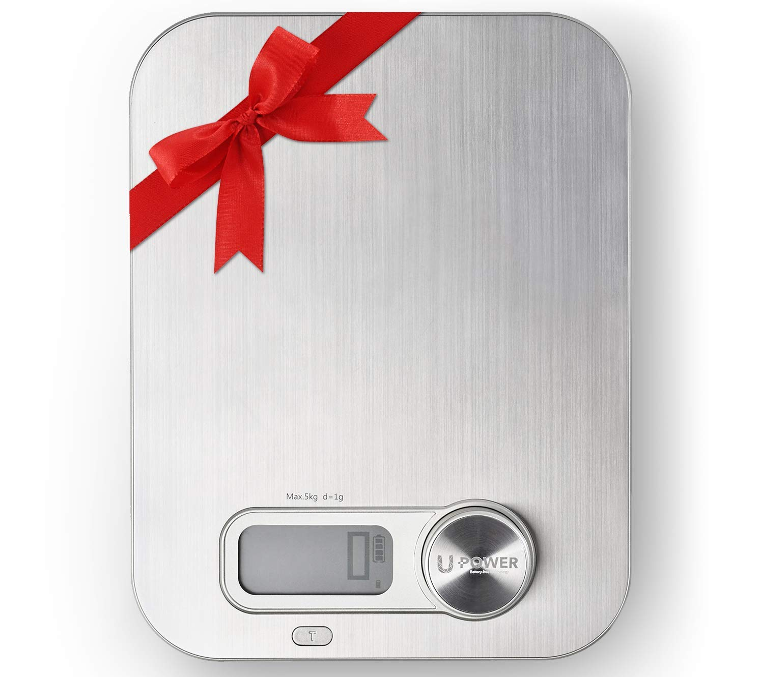 Ellessi Food Weight Scale. BATTERY FREE Digital Kitchen Scales 11lb 5kg. Stainless Steel Coffee Scale