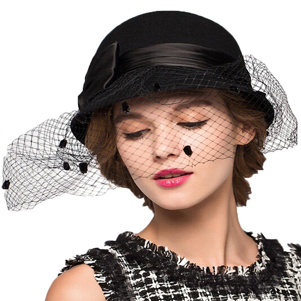 Maitose&Trade; Women's Bow Wool Felt Bowler Veil Hat Black