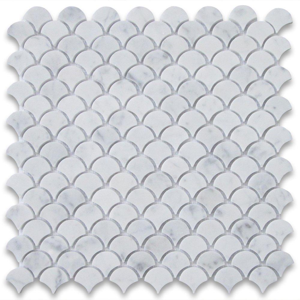 Stone Center Online Carrara White Marble Medium Fish Scale Fan Shape Mosaic Tile Polished for Kitchen Backsplash Bathroom Flooring Shower Surround Dining Room Entryway Corrido Spa (1 Sheet)