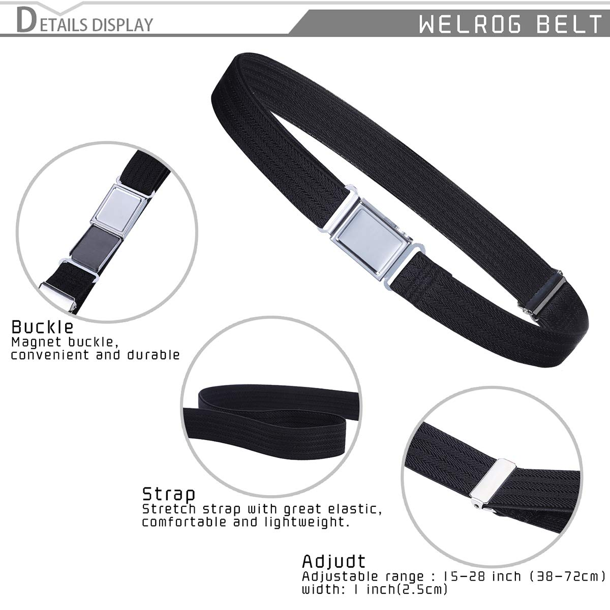 Kids Adjustable Magnetic Belt for Boys Girls Elastic Stretch Buckle Belts by WELROG