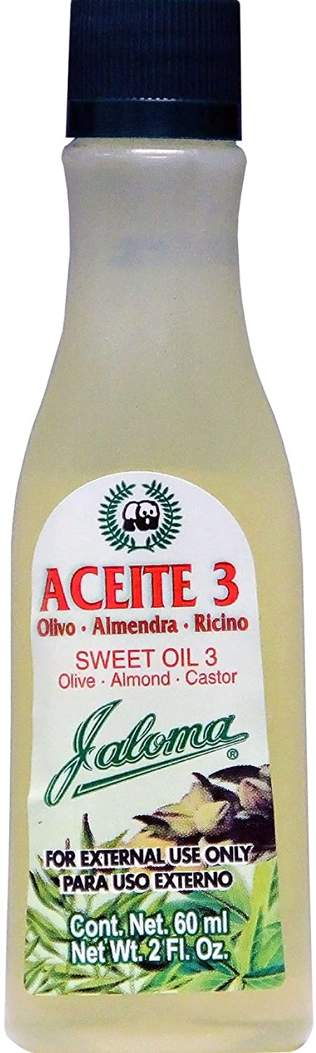 Amazon.com : Sweet Oil 3 by Jaloma | Hair Treatment and Skin Moisturizer Oil, Jaloma Aceite 3 with Olivo Oil, Almond Oil, and Castor Oil; 2oz bottle : Body ...