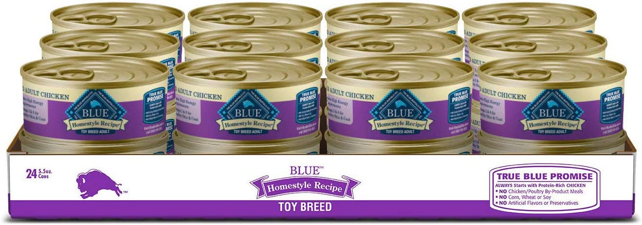 Blue Buffalo Homestyle Recipe Natural Adult Toy Breed Wet Dog Food, Chicken 5.5-oz can (Pack of 24)