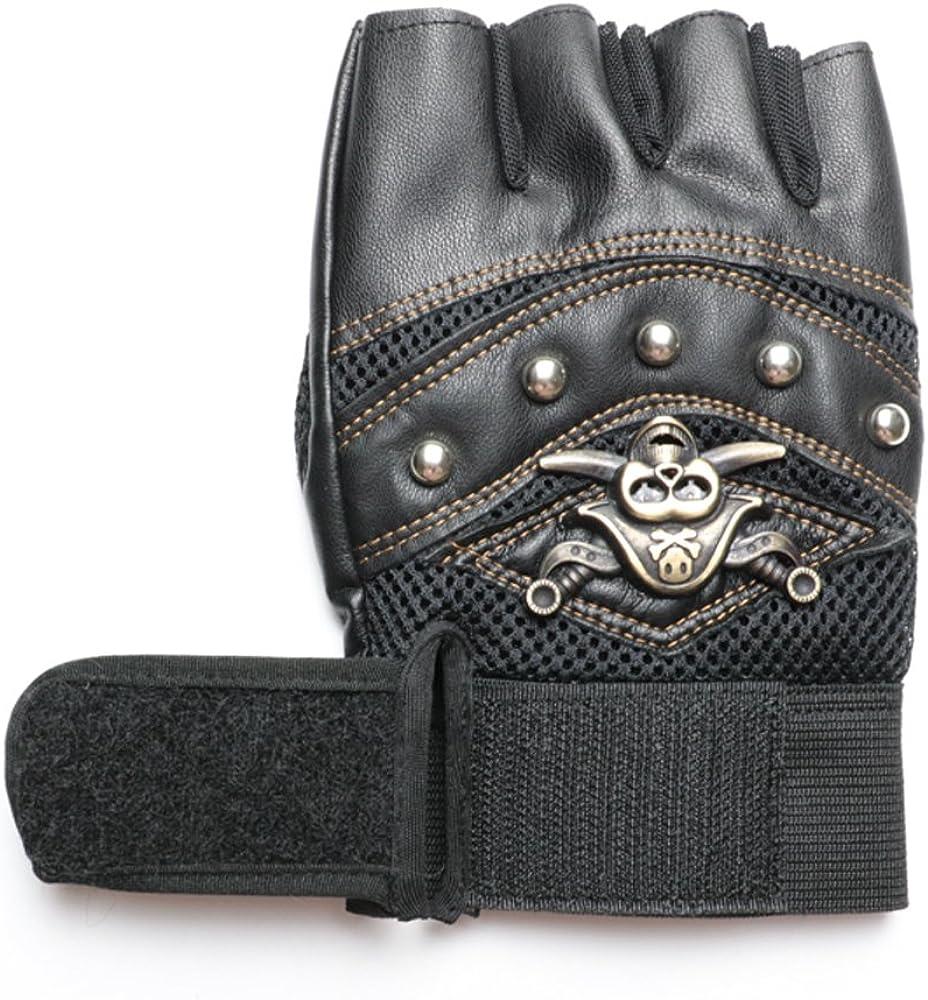 YHETERNAL PU Leather Gloves Skeleton Motorcycle cross Racing Gloves Half Fingers Pirate skull rivet Punk cycling bicycle Gloves