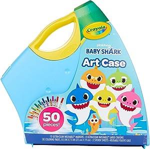 Crayola Baby Shark Art Set, 50 Pieces, Gift for Kids, 4, 5, 6, 7