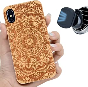 iProductsUS Wood Phone Case Compatible with iPhone Xs MAX and Magnetic Mount, Mandala Flower Engraved in USA, Compatible Wireless Charger, Built-in Metal Plate,TPU Protective Cover (6.5 inch)