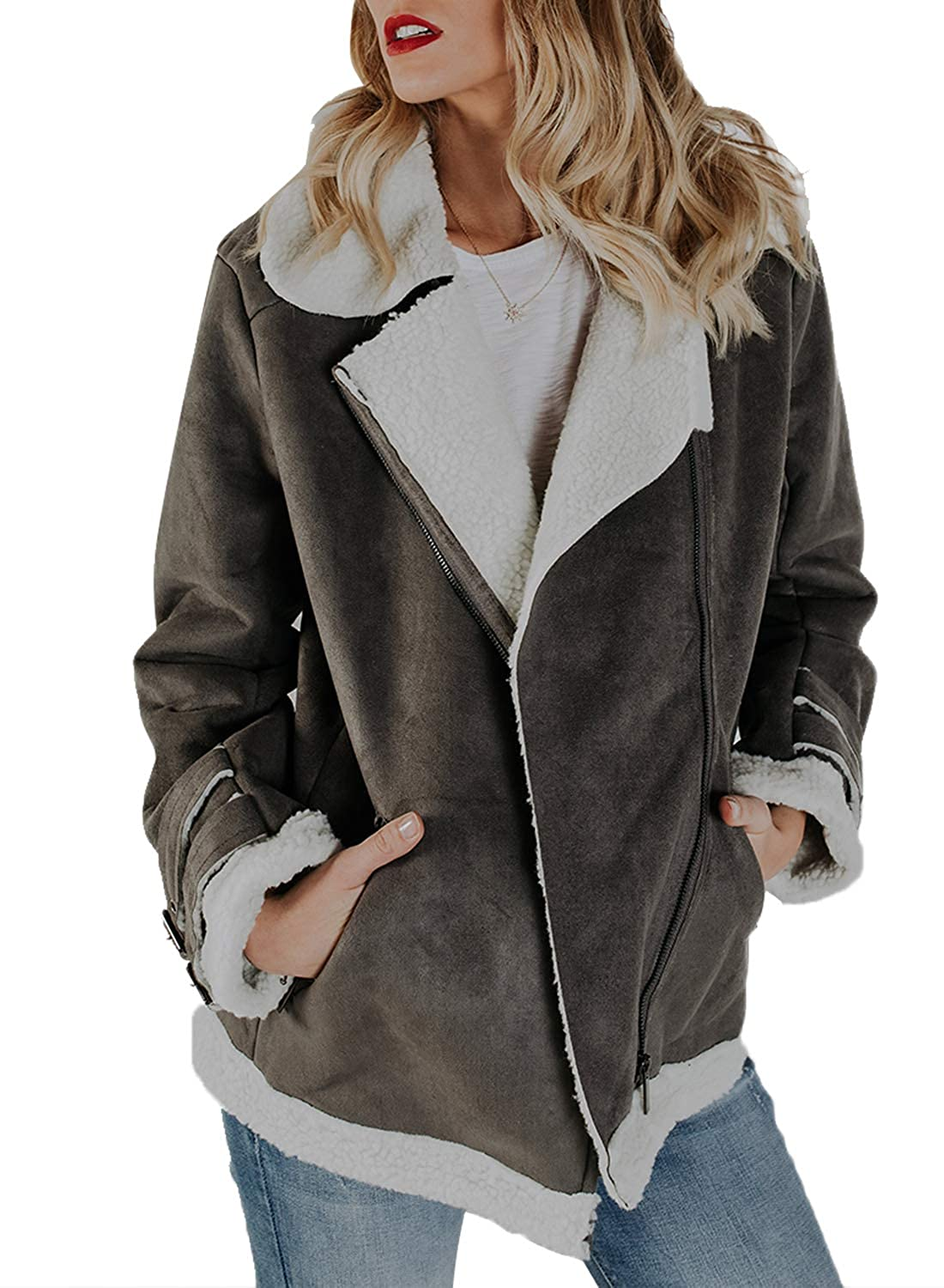 Happy Sailed Womens Winter Faux Suede Fleece Zip Up Coat Pockets