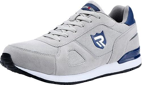 LARNMERN Chaussure de Securité Homme Légères, LM 23 Embout en Acier Respirables Réfléchissantes Chaussures de Travail(46 EU,Gris)