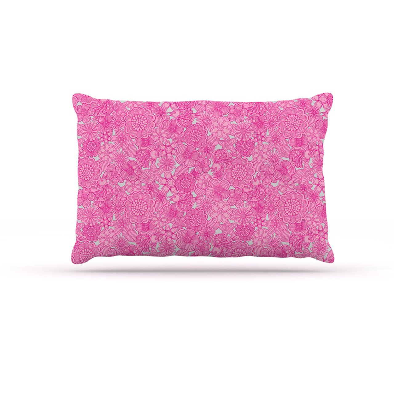 Large 30\ Kess InHouse Julia Grifol Welcome Birds to My Pink Garden  Fleece Dog Bed, 30 by 40-Inch