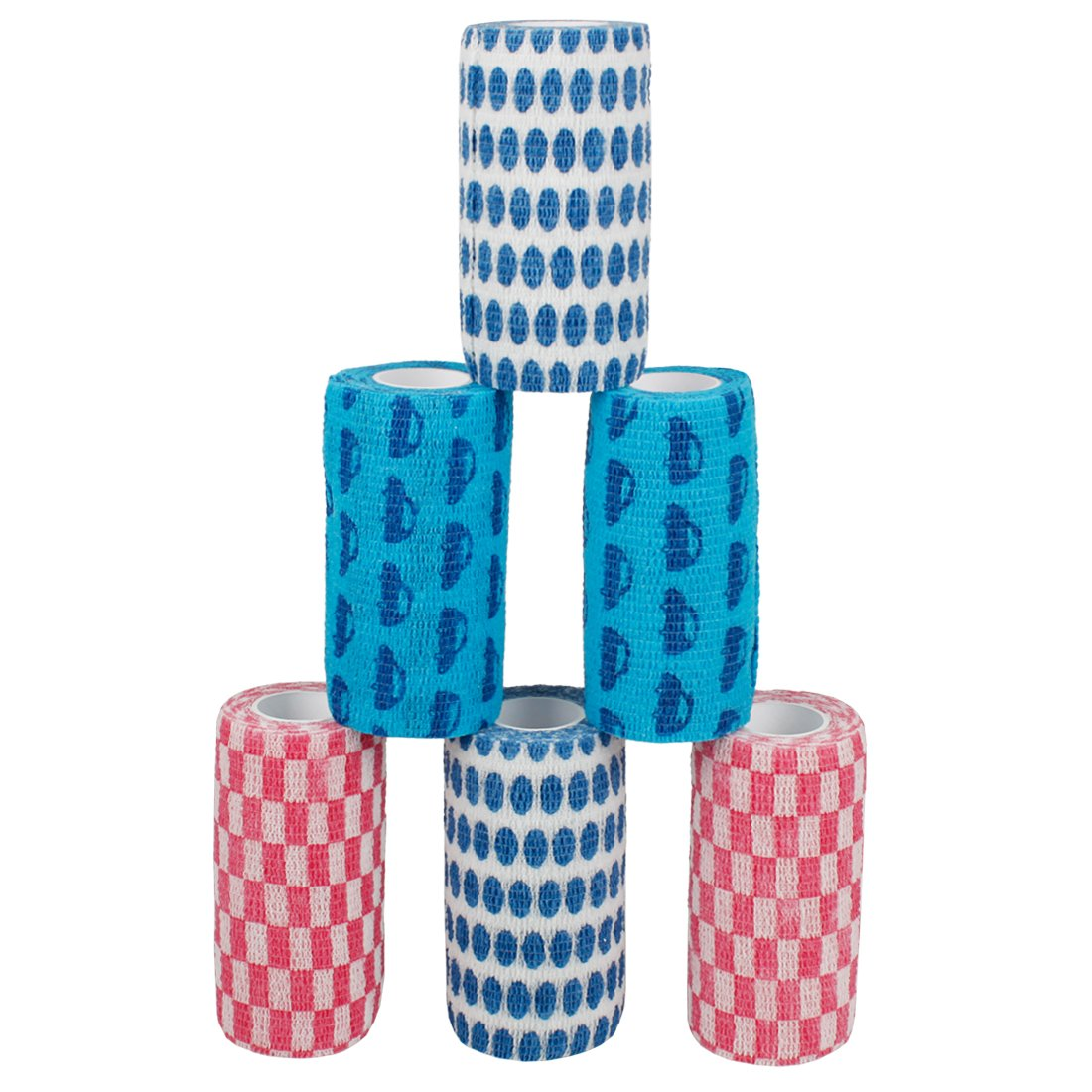 Rollos adhesivos para vendaje Andux Zone, 6rollos autoadhesivos, para vendajes elásticos y cohesivos, con huellas ZZTXBD-02, estampado y color aleatorios