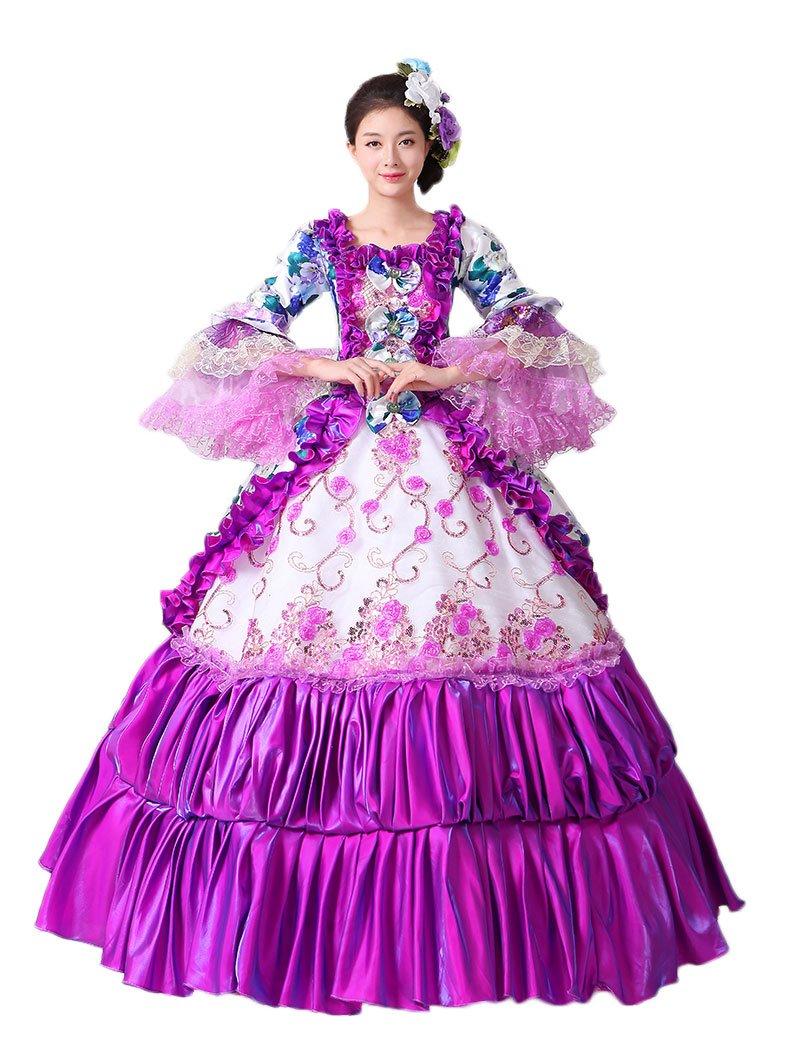 Zukzi Women's Gothic Victorian Lolita Masquerade Dresses Ball Gowns, US 4, #201 Purple