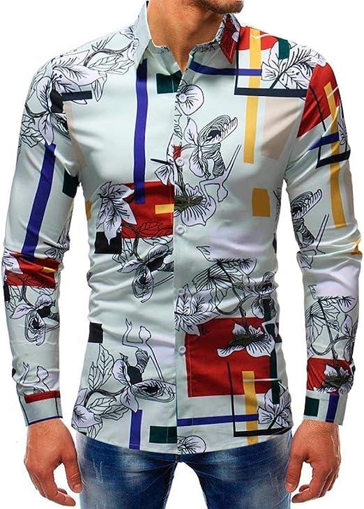 Qiusa Hombres 5XL Camisas Blancas para Hombre Manguito Manga Larga ...