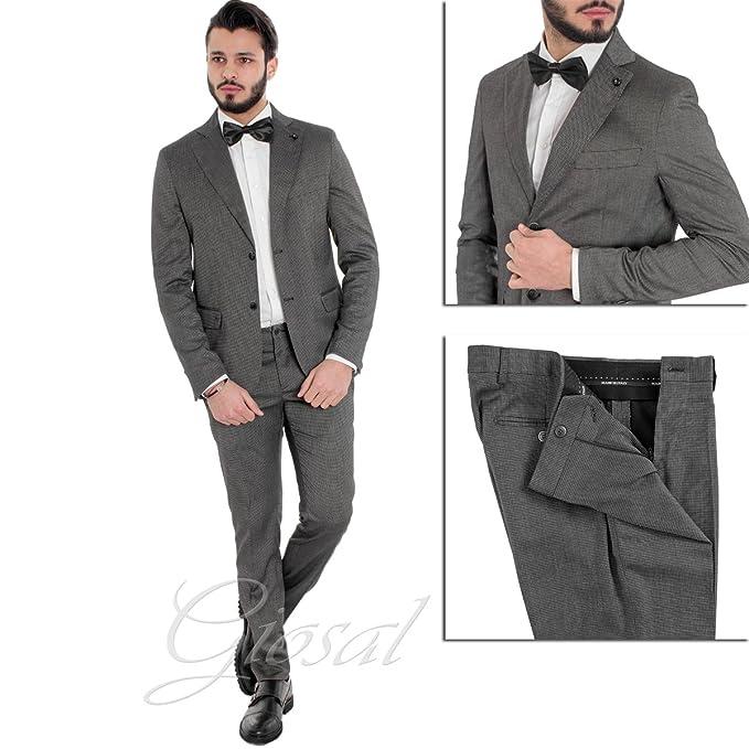 630e2401d4f1 Giosal Abito Elegante Uomo Completo Giacca Pantaloni Blu Micro Quadretti  Grigio Scuro AE1016A-46  Amazon.it  Abbigliamento