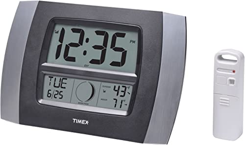 Timex 75331T Atomic Digital Clock with Temperature, Moon Phase Calendar, 11.5 ,Silver and Black
