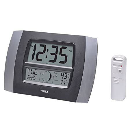 Timex 75331T Atomic Digital Clock with Temperature, Moon Phase Calendar, 11.5