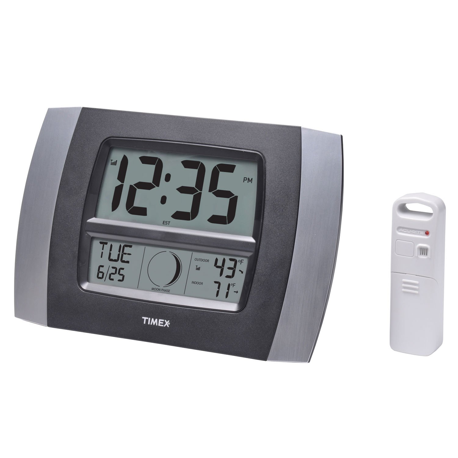 Timex 75331T Atomic Digital Clock with Temperature, Moon Phase & Calendar, 11.5''