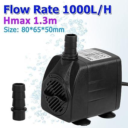 Floureon Bomba de Agua 1000L/H Sumergible Caudal Ajustable para Acuario Pecera