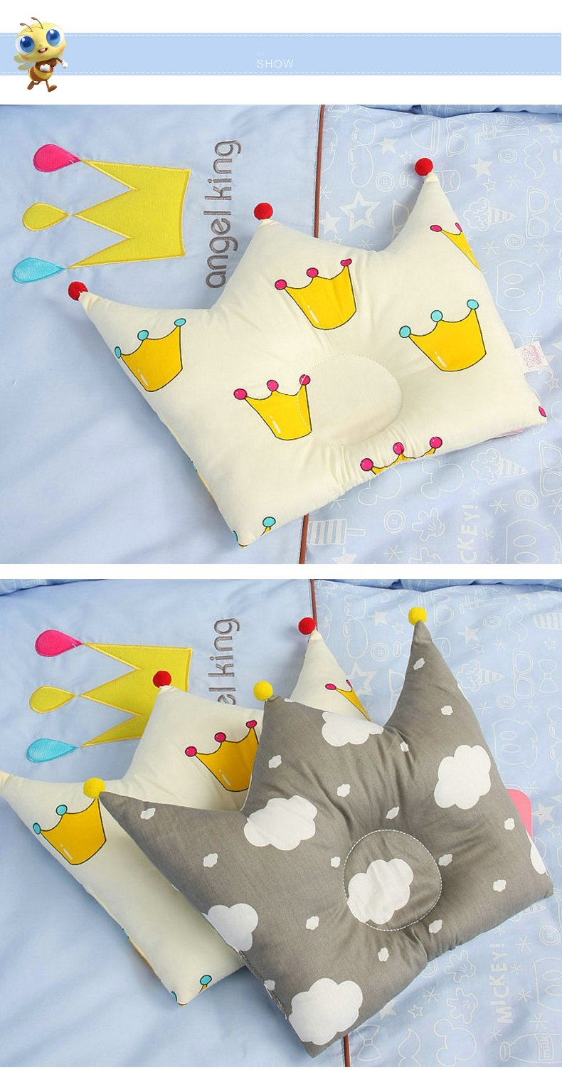 Newborn Baby Pillow,Bomxy Organic Cotton Cartoon Pillow,Baby Cute Crown Shape Pillows Washable Pillow For 0-12 Months Baby(Fairy Tale) by Bomxy
