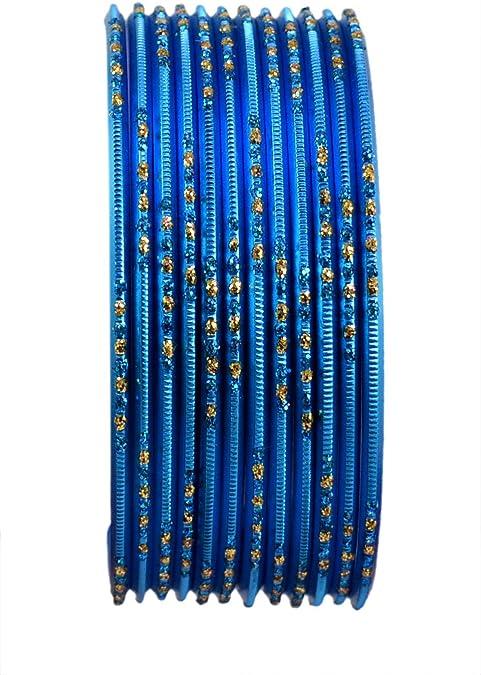 Chudi Jewelry Blue Color Indian Ethnic Bollywood Fashion Costume Metal Bangles