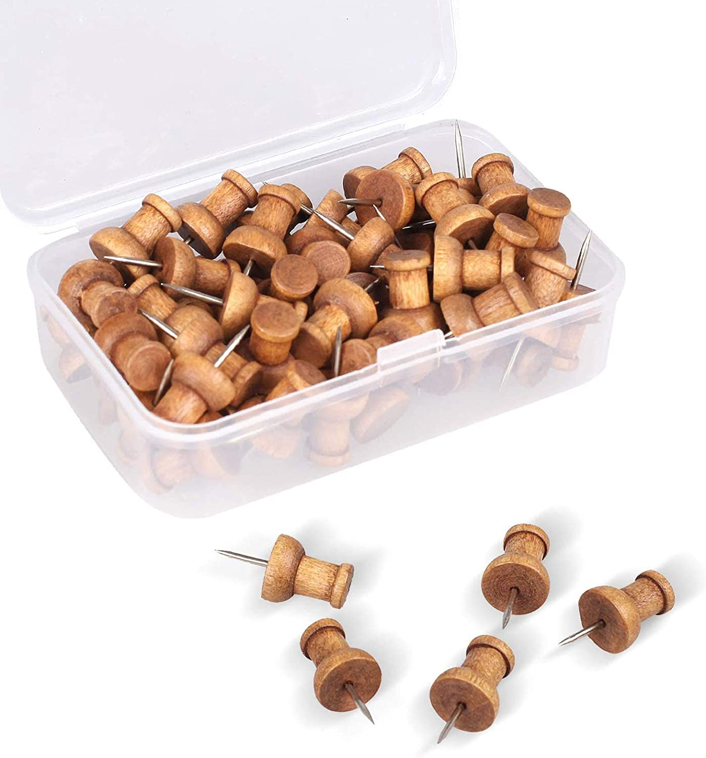 60 Pcs Wood Push Pins, Walnut, Standard, Wooden Thumb Tacks Decorative for Cork Boards Map Photos Calendar and Home Office Craft Projects with Box