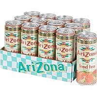 AriZona Zwarte thee met perziksmaak, verpakking met 12 blikjes van 330 ml, drankje 100% plezier, verpakking design