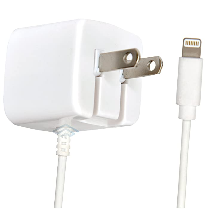 Lightningfast - Apple Certified iPhone Lightning Charger - Wall Plug - for iPhone X 8 Plus 8 7 Plus 7 6S Plus 6 Plus 6 6S 5S 5 5C SE - Fold Away Pins - 2.1a Rapid Power - Take for Travel - White
