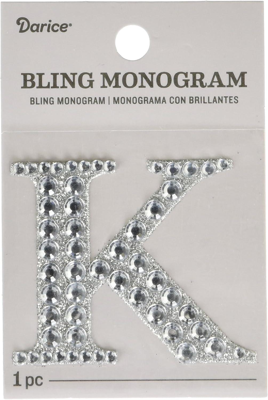 """Darice """"Letter K Bling Monogram Sticker, Silver"""
