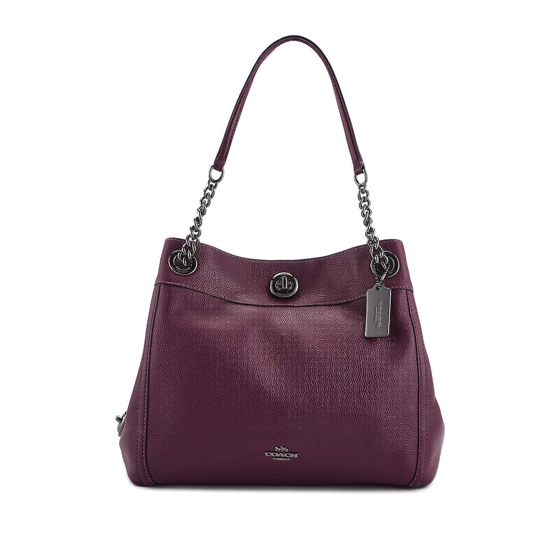 Coach Turnlock Edie Shoulder Bag In Pebble Leather (Dark Berry)  Handbags   Amazon.com ff866b2c3a45e