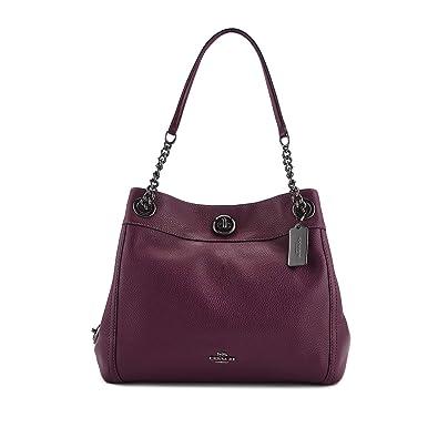 Coach Turnlock Edie Shoulder Bag In Pebble Leather (Dark Berry)  Handbags   Amazon.com 7dd0abeb4afe9