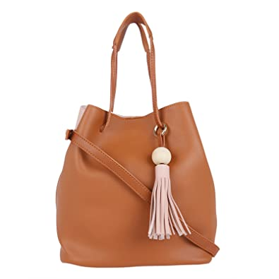 bc24ac560a2 Fur Jaden Pink   Tan Bucket Sling Bag for Women  Amazon.in  Shoes   Handbags
