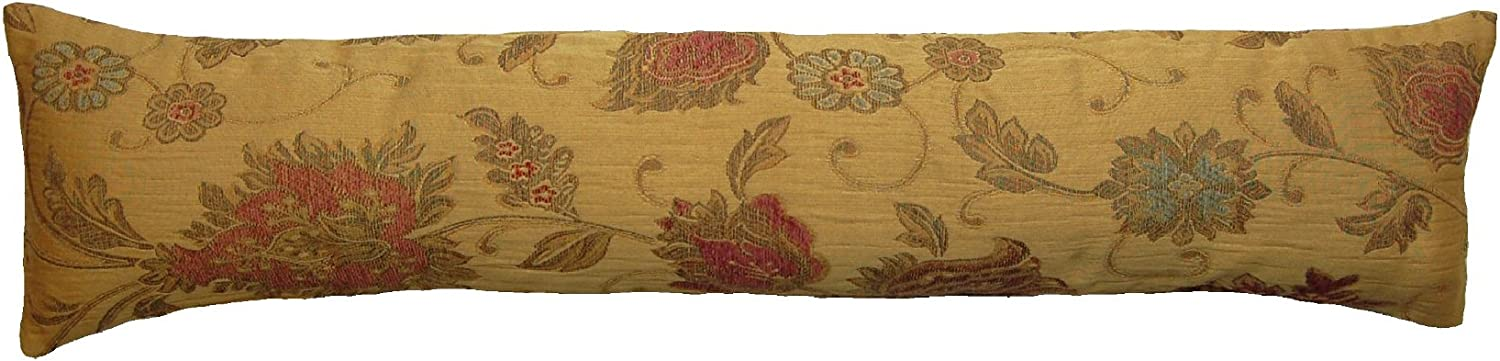 Classic Home Store Balmoral Floral Draught Excluder Traditional Fabric Door or Window Draft Guard (Gold)