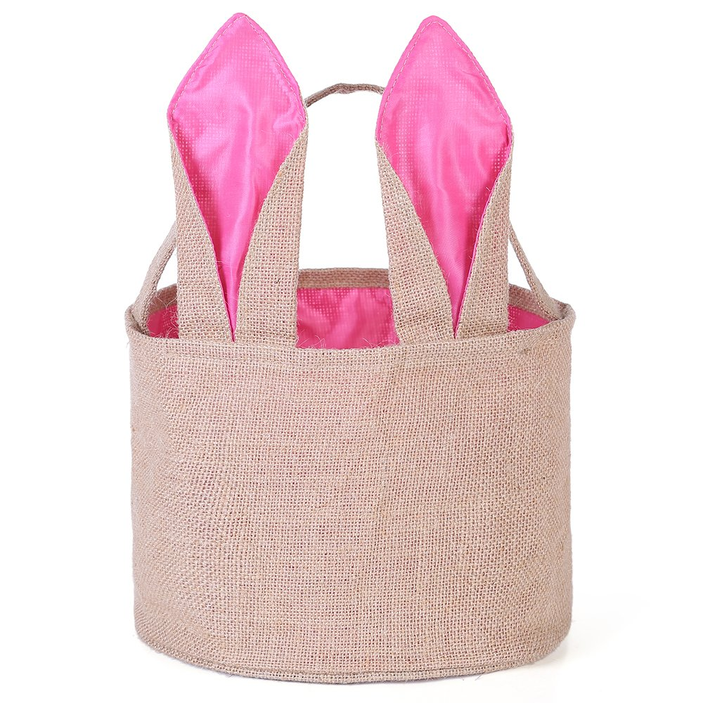 Easter Egg Basket for kids Bunny Burlap Bag to Carry Eggs Candy and Gifts (Pink)