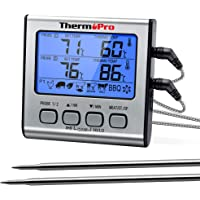ThermoPro TP-17 Dual Probe Digital Cooking Meat Thermometer Large LCD Backlight Food Grill Thermometer with Timer Mode…