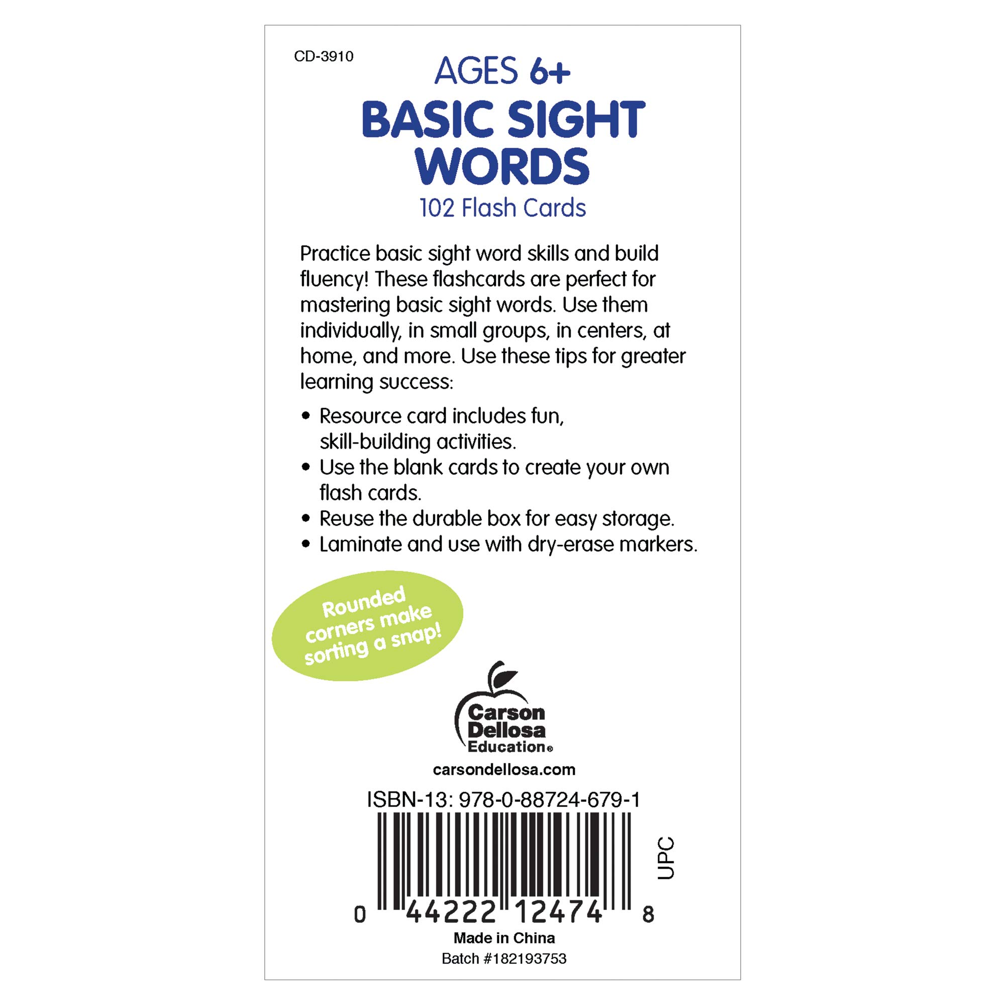 Carson Dellosa - Basic Sight Words Flash Cards - 102 Cards