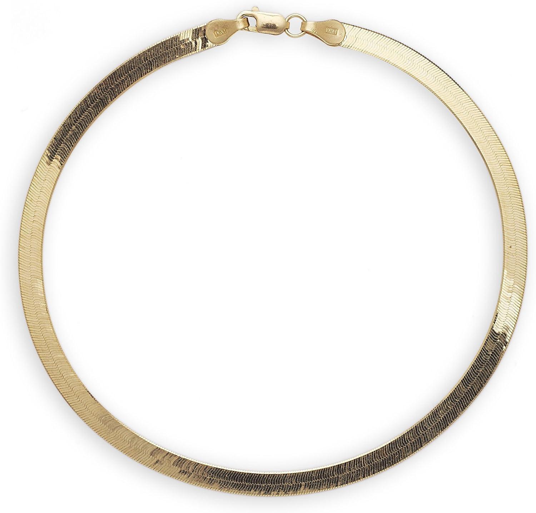 Floreo 10k Yellow Gold 4mm Super Flexible Silky Herringbone Chain Bracelet