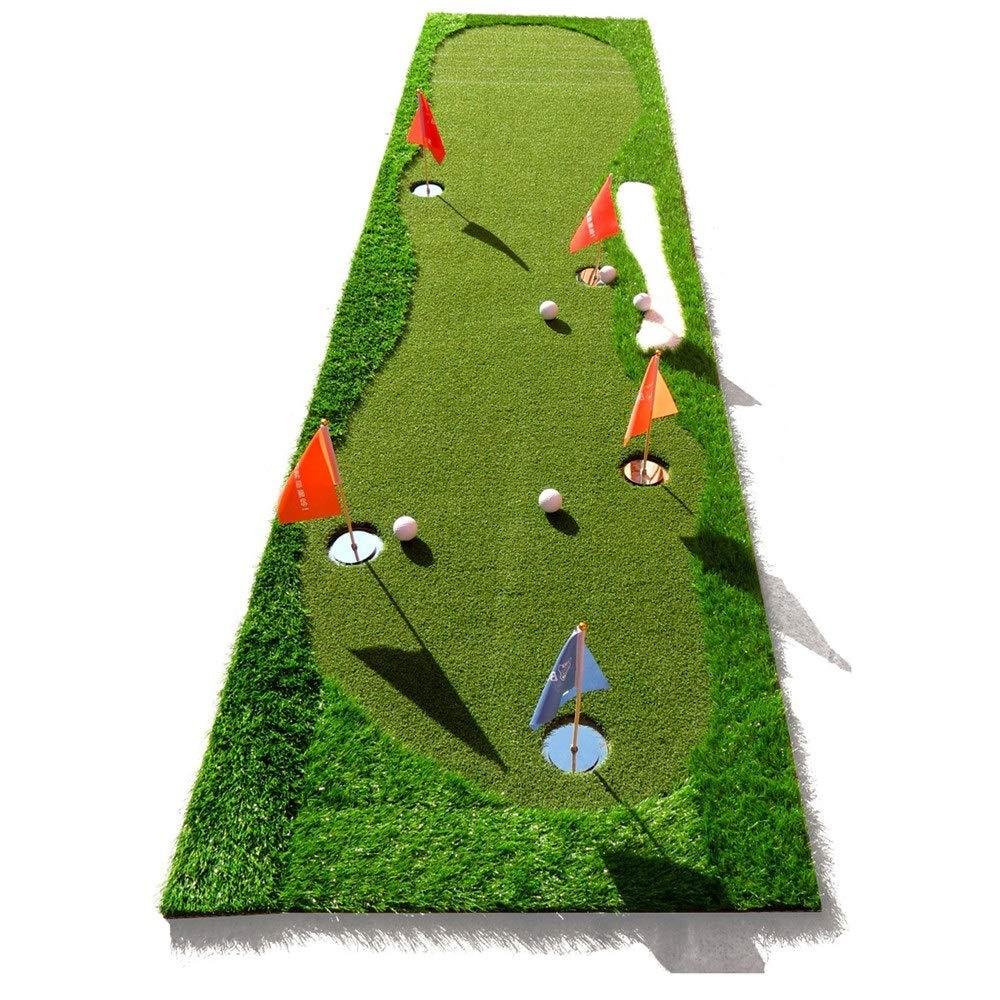 パット練習器具 ゴルフミニ人工グリーンパッティングエクササイザー屋内/屋外ミニ5穴デザイン、メタルホールカップ、スケールシミュレーションバンカー (色 : 緑, サイズ : 0.8*3.5m) 0.8*3.5m 緑 B07SNTH96W