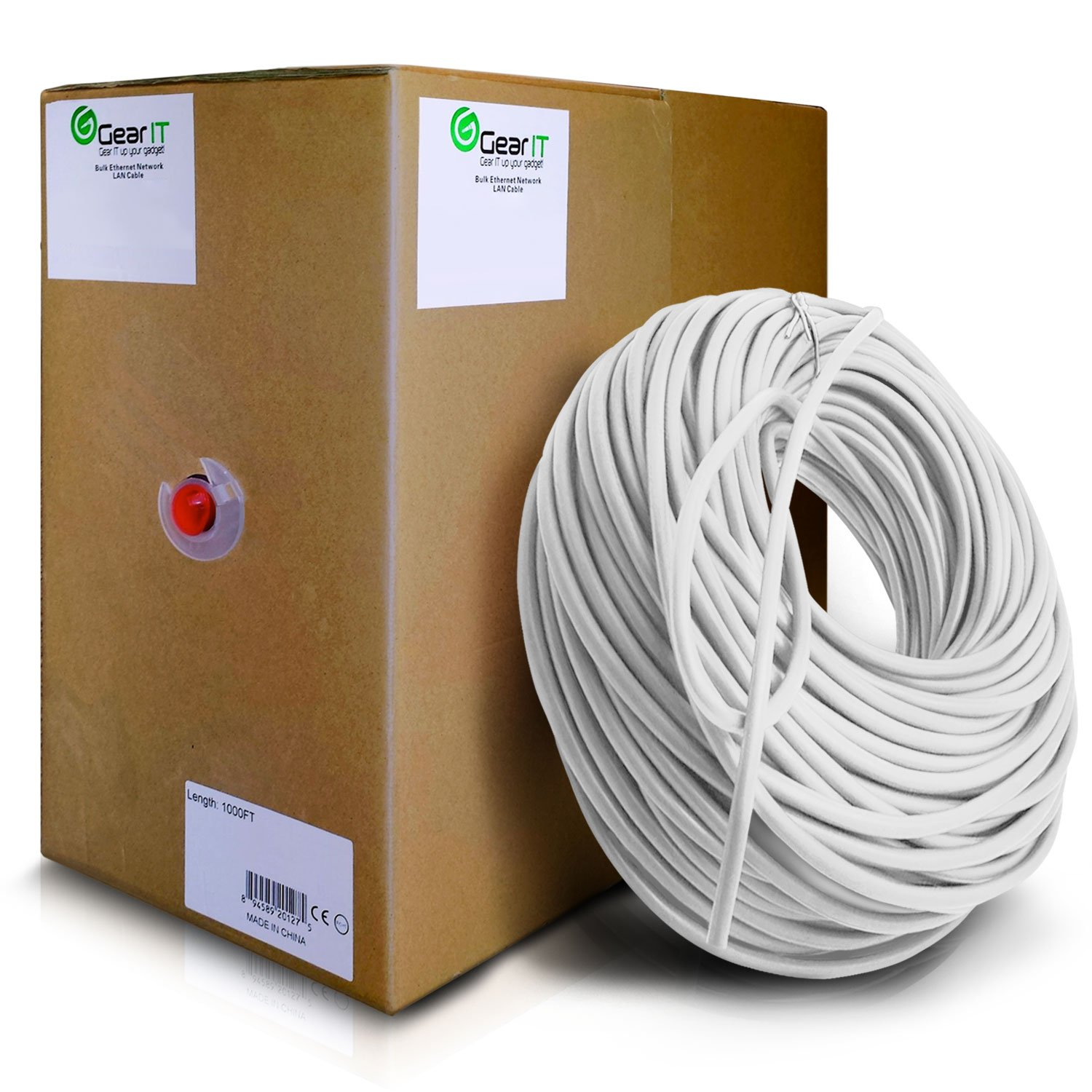 GearIT Cat5e Ethernet Cable Bulk 1000 Feet - Cat 5e 350Mhz 24AWG Full Copper Wire UTP Pull Box - In-Wall Rated (CM) Stranded Cat5e, White by GearIT