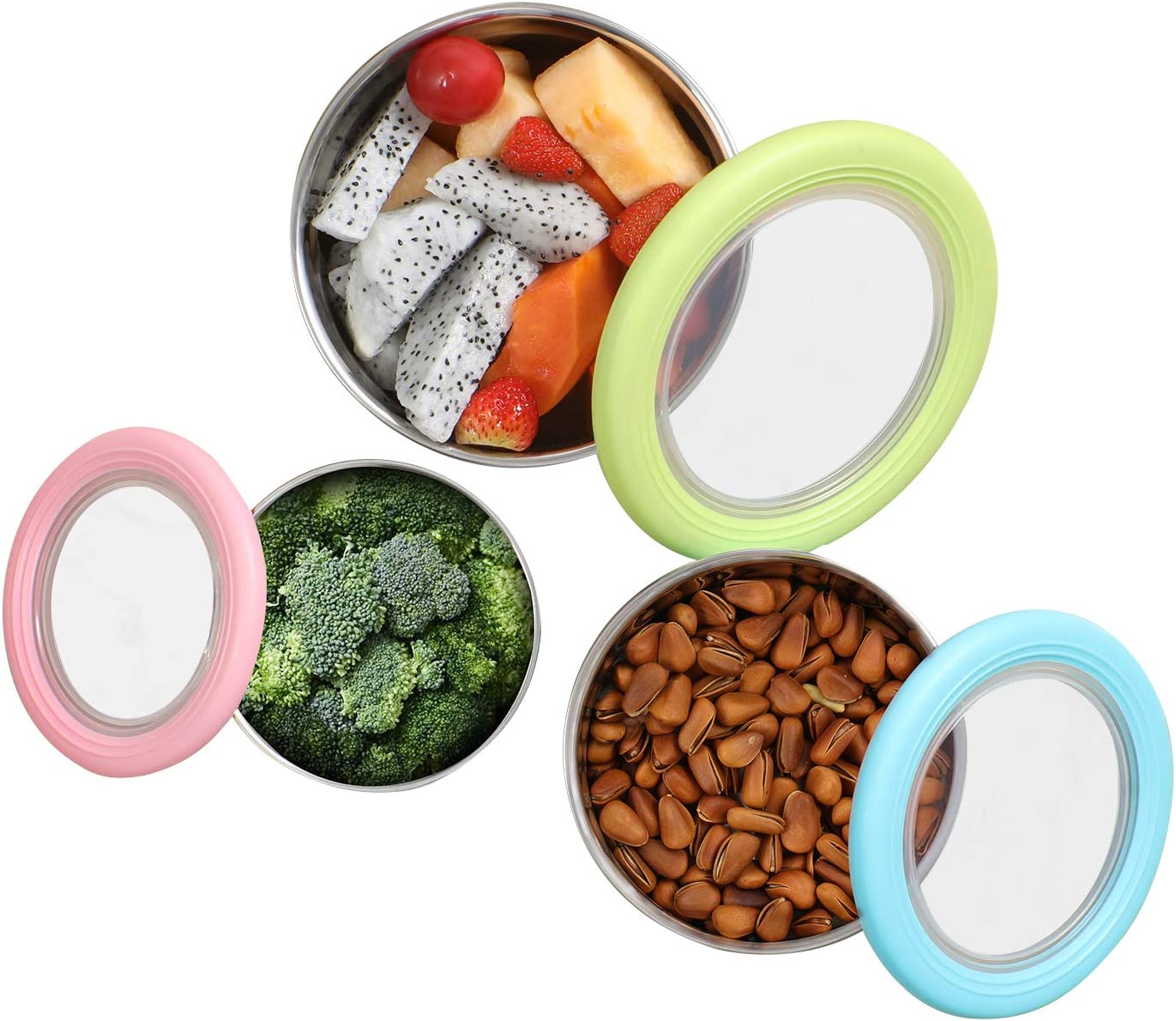 Round Stainless Steel Sealed Anti-Scald Bowl,Food Storage Box,Fresh-keeping Box,Leak-proof Sealed Box,Cute Children Rice Bowl with Silicone Leak-Proof Lid,Non-Slip Lunch Box for Student & Adult
