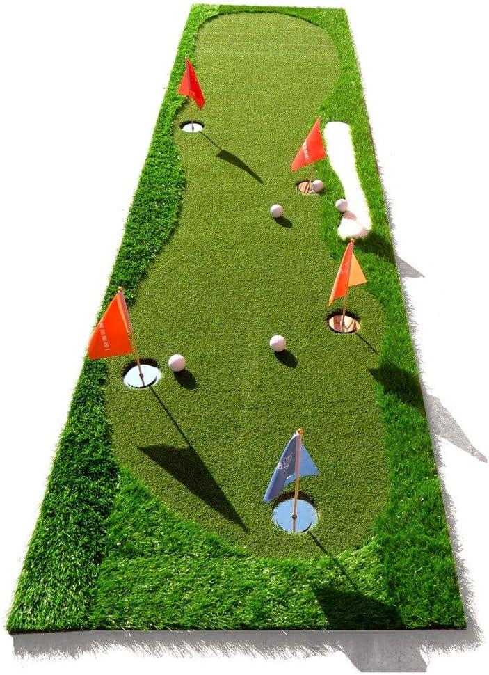ゴルフの打撃のマットの攻撃 ミニ5穴と屋内屋外のゴルフ小型人工的な緑の置く運動家 (色 : 緑, サイズ : 0.8*3.5m) 緑 0.8*3.5m