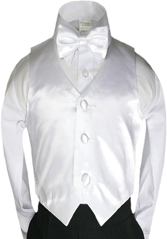 2pc White Bow Tie Vest Set Boy Wedding Party Graduation Formal Suit Sm-20