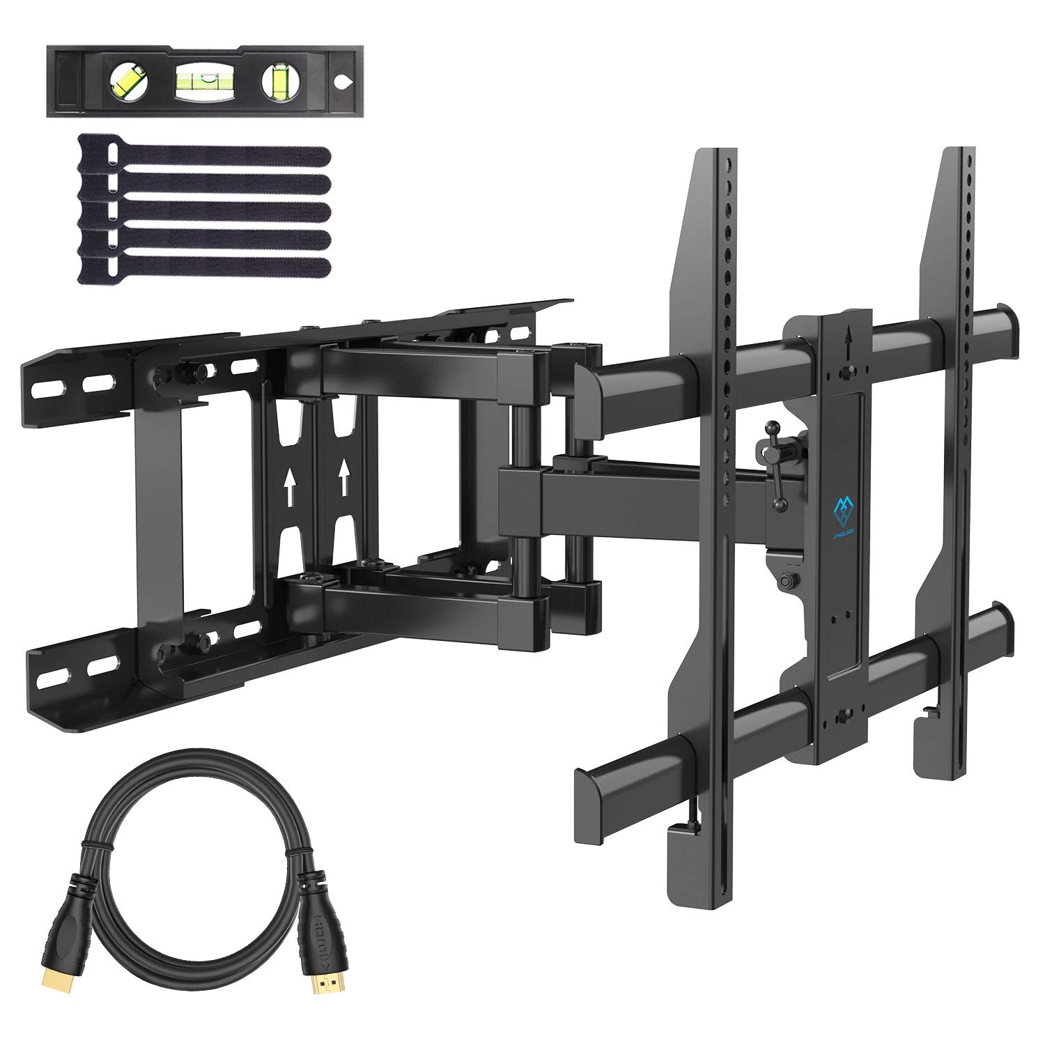 PERLESMITH TV Wall Mount Swivels, Tilts, Extends - Full Motion TV Mount with Articulating 16'' Arm Fits 16'', 18'', 24'' Wood Studs - VESA 400x400mm for 37-55 Inch LED LCD Flat Screen Plasma TVs by PERLESMITH