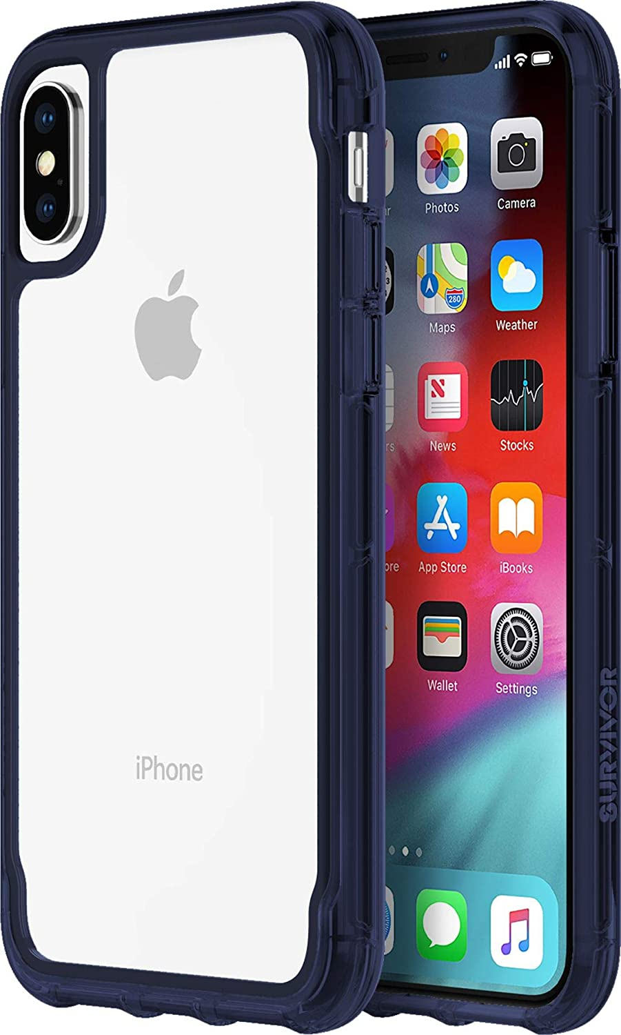 Griffin Survivor Clear Case Military Standard for Apple iPhone Xs/X [Scratch-Resistant Coating I Thin Design I Shock Absorbing Corners I Qi Compatible] (Transparent/Blue) - GIP-007-CIR