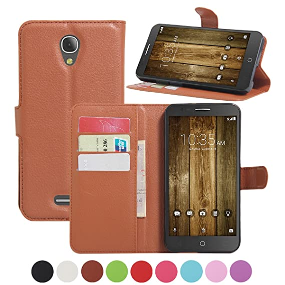 best sneakers c72b7 c8ed7 Alcatel Fierce 4 Wallet Case, Alcatel Pop 4 Plus Case, AMASELL [Stand View]  PU Leather Flip Cover with Card Slots Holder Folio Wallet Cases Cover, ...