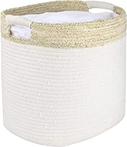 LA JOLIE MUSE Cotton Rope Storage Basket with Corn Skin, Organizer Bin for Baby Toys Laundry Blanket, Home Décor Gift, 16.0 x 13.0 x 14.0 Inches, Natural Color, Beige Patterned