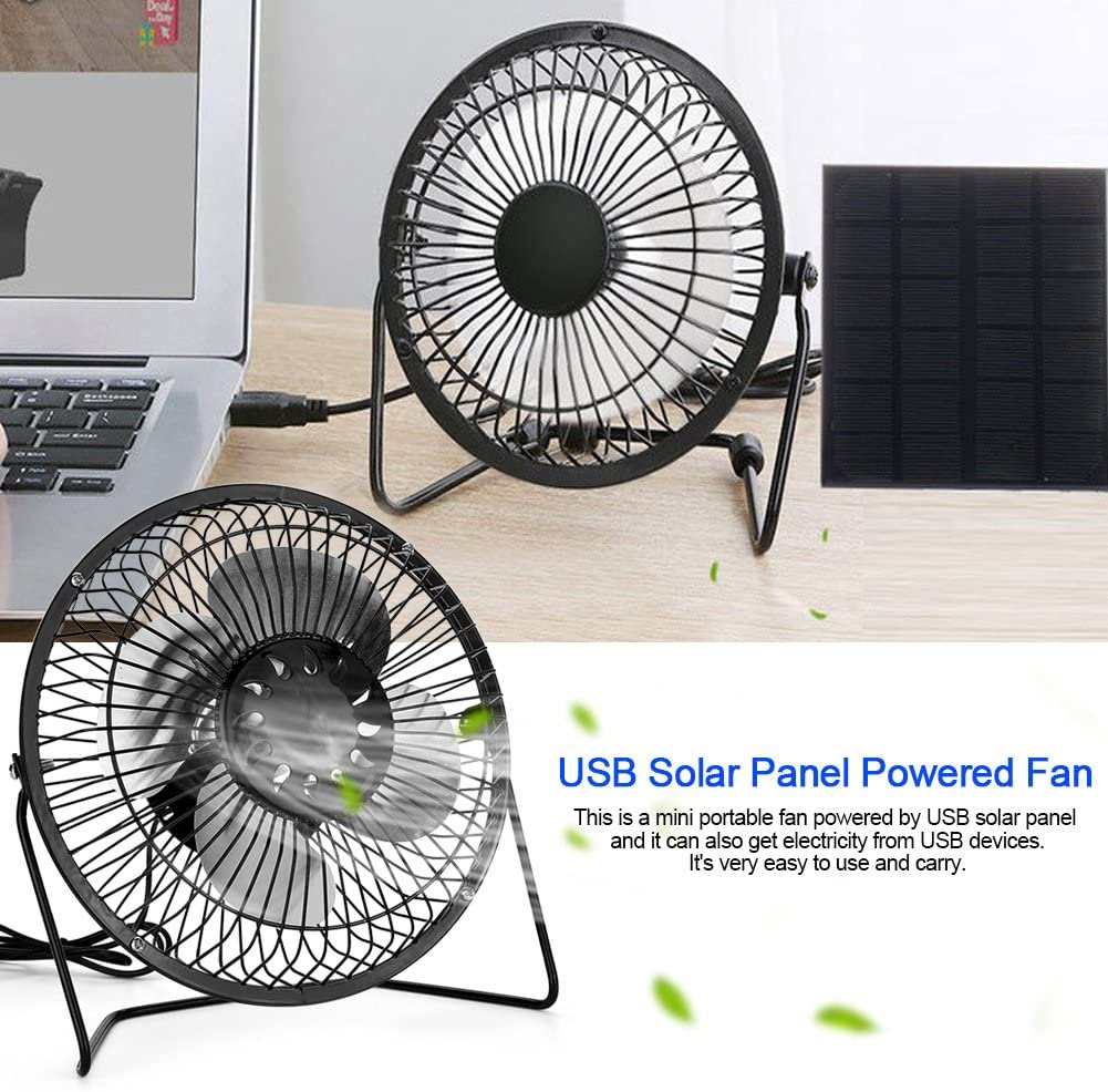 Yencoly USB Desk Fan USB Solar Panel Powered Mini Portable Fan with Adjustable Support Stand-for Cooling//Ventilation//Home//Travelling//Fishing