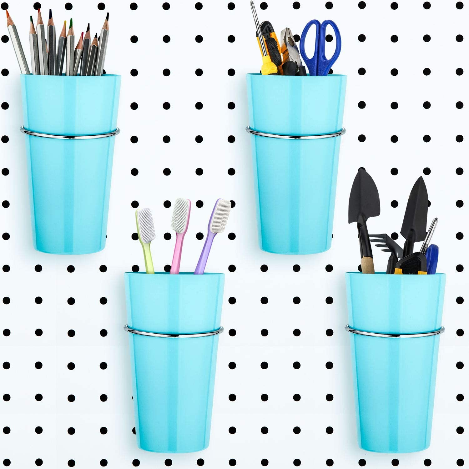 4 Sets Pegboard Bins with Rings, Ring Style Pegboard Hooks with Cups, Pegboard Cup Holder Accessories for Organizing (Blue)
