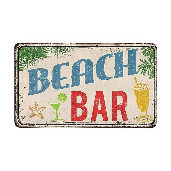 Hawaiian Beach Bar Vintage Cartel de metal oxidado Felpudo ...