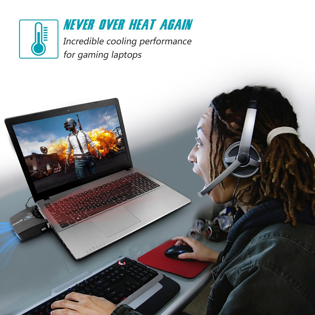 OPOLAR Laptop Fan Cooler with Temperature Display, Rapid Cooling, Auto-Temp Detection, 13 Wind Speed(2600-5000RPM), Perfect for Gaming Laptop, Nintendo Switch by OPOLAR (Image #5)